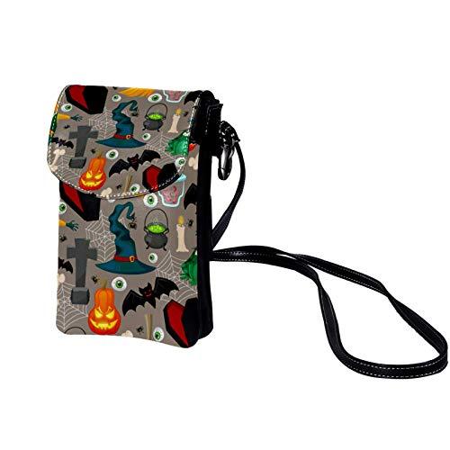 Mini Bolso de Teléfono Móvil Víspera de Todos los Santos Bandolera Mujer Niña Pequeño Bolsa de Hombro Con múltiples ranuras para tarjetas 19x12x2cm