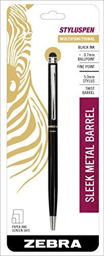 Zebra StylusPen Twist Retractable Ballpoint Pen, Fine Point, 0.7mm, Black Ink, Black Barrel, 1-Count