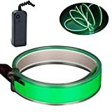 Lychee3 Ft 1M Lychee 1M Neon Glowing Strobing Electroluminescent Robbin El Tape Belt EL Wire Rope with Battery Pack for Cosplay Decoration Bruning Festival (3Ft, Green)
