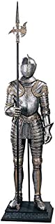 Design Toscano 16th Century Italian Armor with Halberd Medieval Knight Statue, 6 Foot, Faux Pewter