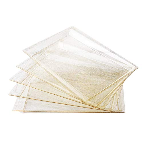 I00000 6 Pack Gold Glitter Plastic Serving Tray 15 x 10 Crooked Food Trays Clear Disposable Serving Platter for Parties Weddings