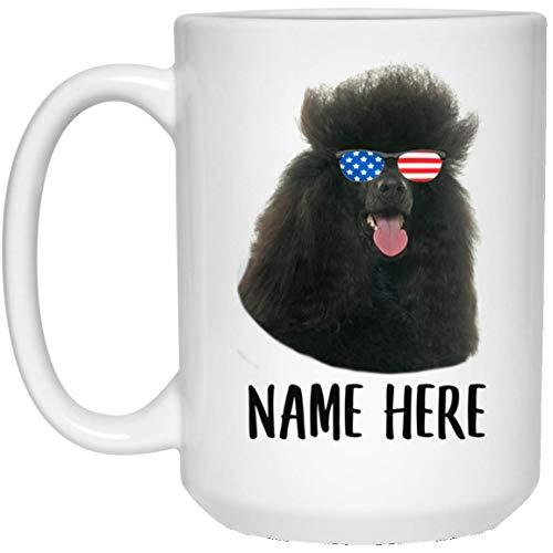 N\A Nombre Personalizado caniche estándar Negro con Bandera Americana Gafas de Sol Taza de café con Leche