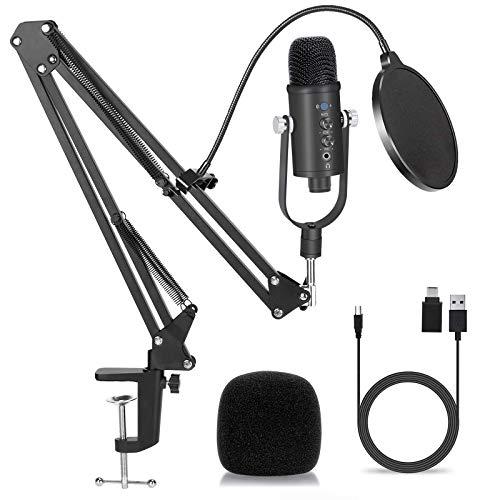 USB Microfono a Condensatore, PC Microfono Kit Professionale Cardioid Microfono di Registrazione con Sospensione Regolabile & Filtro Anti-Vento Supporto per Streaming, Registrazione, Gioco, Podcasting