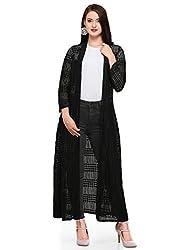 Smarty Pants Women Lace Black Long Shrug. SMSH-52C
