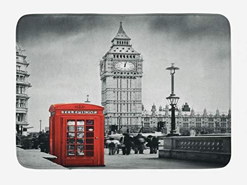 ABAKUHAUS Londres Tapete para Baño, Cabina de teléfono de Ben Grande, Decorativo de Felpa Estampada con Dorso Antideslizante, 45 cm x 75 cm, Rojo Gris