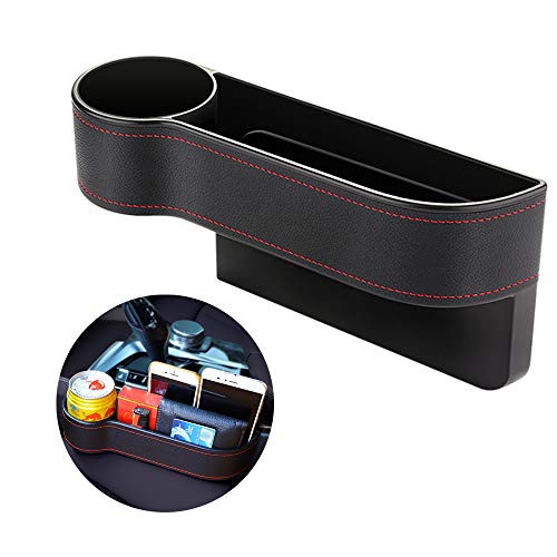 DKIIGAME Car Seat Organizer with Car Cup Holder,Car Seat Pockets Console Side Organizer Seat Gap Filler Storage Organizer Caddy (Black, Driver Seat)