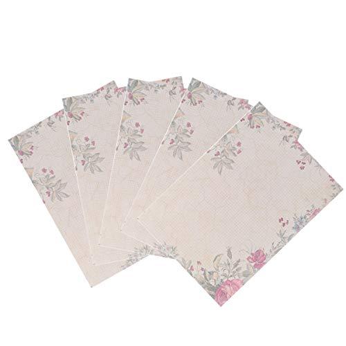 STOBOK Papel de Escribir retro,50 Hojas Papel de carta,papel de letra vintage Papelería romántico para oficina y hogar, 26x18cm (rosa verde)