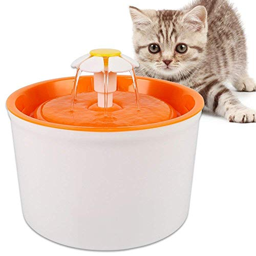 Water dispenser for pet fountain - 1.6L Flower Style Cat Dog drinking water fountain, healthy and hygienic Cat flower fountain Super silent automatic electric water container (orange)