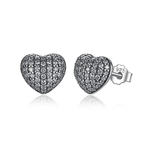 Zilveren In mijn Hart Zirkonia Brincos 925 Sterling Zilver In Mijn Hart Pave Stud Oorbellen, Clear CZ voor Vrouwen Fijne sieraden Bruiloft
