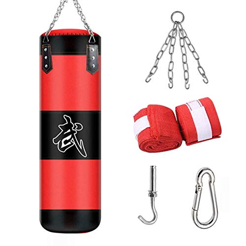 ALINILA Sac de Frappe Adulte,Punching Bag MMA Punching Ball Muay ​Thai Arts Martiaux Kickboxing Kit Boxe avec Gants Chaine Suspension Punching Bag(Pas de Remplissage)