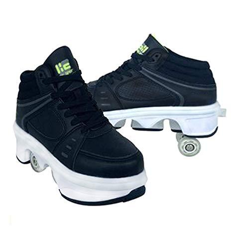 Wrotki damskie, buty na kółkach dla dziewczynek, buty unisex z kółkami, buty na rolkach dla dorosłych, sportowe buty do skateboardingu na świeżym powietrzu, czarne-EUR41