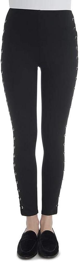 Lyssé Women's Whipstitch Grommet Ponte Legging Pants, Black, XS