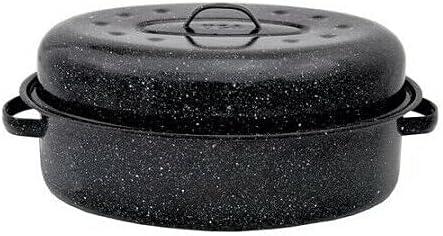Roasting Pan security 18 Black Oval Roaster Lid San Antonio Mall With Ceramic Non Po Stick