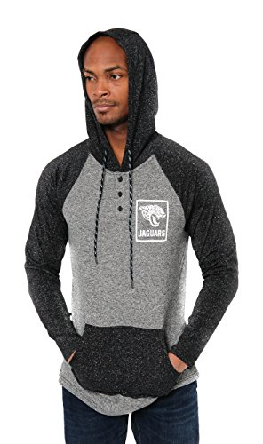 Ultra Game NFL Jacksonville Jaguars Mens Fleece Hoodie Pullover Sweatshirt Henley, Team Color, Medium