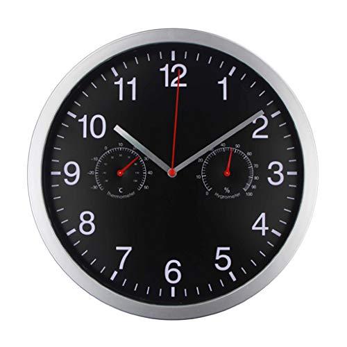 R-WEICHONG Orologio da Parete 25,4 cm, in Metallo, Silenzioso, al Quarzo, Rotondo, con termometro e igrometro, Resina, Nero