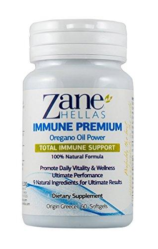 Zane Hellas Immune Premium Softgels. Immune Support. Multiple Defense System. Wellness Support. Provides Strong Antioxidants. 100% Herbal Solution. 60 Softgels.