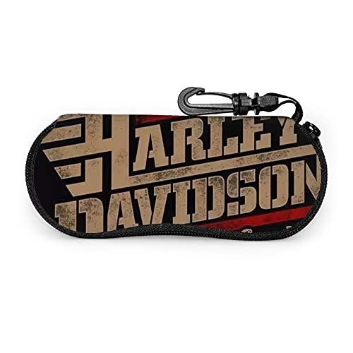 Funda de gafas de sol de Harley David portátil con cremallera para hombres y mujeres