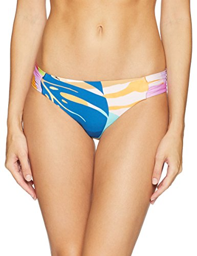 Trina Turk Women's Shirred Side Hipster Pant Bikini Swimsuit Bottom, Blue/Red/Orange/Banana Leaf Print, 4