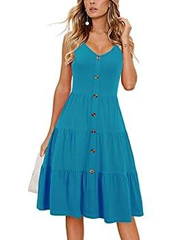 Alice & Elmer Women s Casual Beach Summer Dresses Solid Cotton Flattering Tiered Flare V-Neck Spaghetti Strap Button Down Sundress  0026-Sky Blue,M