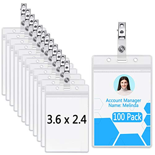 Clear Plastic Vertical Nametag Holders and Metal Badge Clips with Vinyl Straps Waterproof PVC ID Card Holder by LONOVE (100 Pack, Vertical 3.5x2.3)