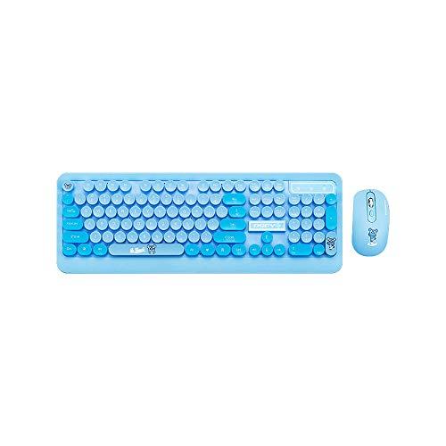 Fesjoy Combo de teclado y mouse, K68 Combo de teclado y mouse 2.4GHz Inalámbrico Lindo Retro Teclado redondo Teclado Juego de mouse Teclado punk Combo de mouse Azul