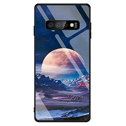 jemous compatibel met Samsung Galaxy S10 hoesje, gehard pantserglas glas achterkant beschermhoes met TPU silicone rand telefoonhoes hardcase voor Samsung Galaxy S10, Galaxy S10, B