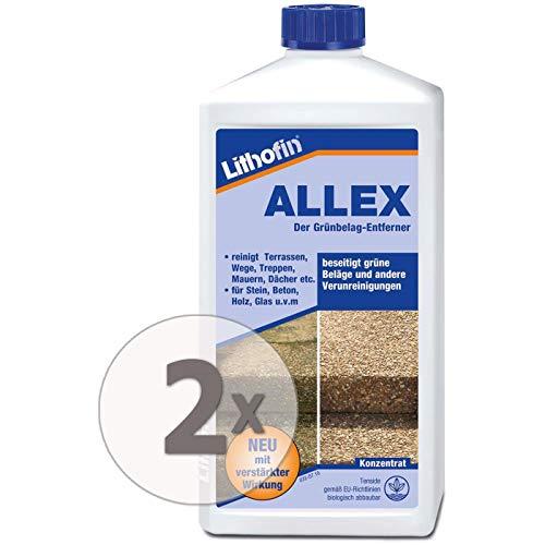 Lithofin ALLEX 2 l - Grünbelag-Entferner Algen- und Moosentferner - Ideal zum vorbeugen gegen grüne & rutschige Beläge