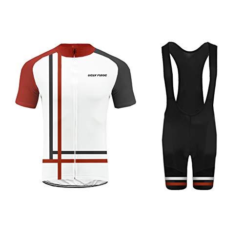 UGLY FROG Ropa Ciclismo MTB Racing Team Verano para Hombre - Un Conjunto de Ciclismo Camiseta Carta Jersey Maillot y Culotte Bib Pantalones Cortos FAX19DT02