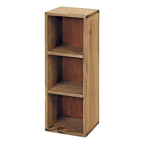 不二貿易 収納ボックス 3段 ブラウン 木製 アンティーク調 91750