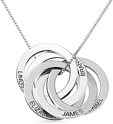 Getname Necklace Personalized Custom Engraved Russian Ring Necklace Family Name Necklace Sterling Silver 925 Mother's Day Jewelry 2 Name & 3 Name & 4 Name & 5 Name