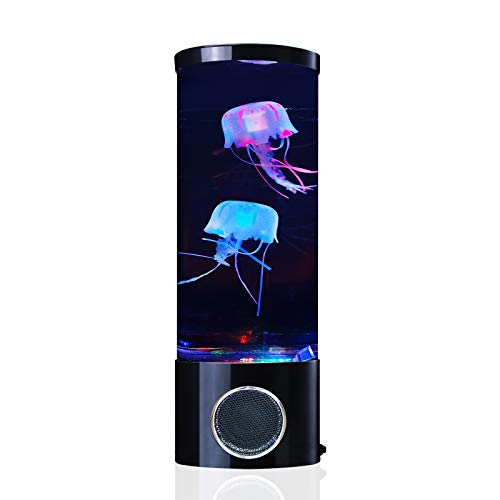 Quallen Lava Lampe Bluetooth-Lautsprecher mit 20 Farbwechsel Aquarium LED-Licht mit 2 JellyFish USB Electric Mood Lampe Große Dekoration Nachtlampen Tank Home Office Geschenk für Männer Frauen Kinder