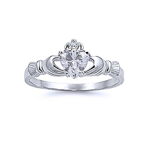 Kleine Schätze Damen-Ring/Verlobungsring Claddagh - 925 Sterlingsilber - Zirkonia