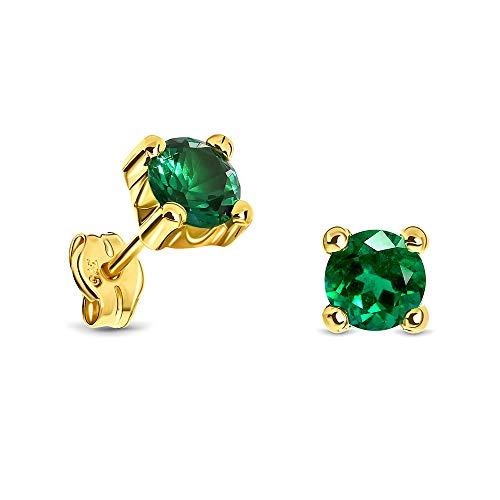 Miore Ohrring Damen runde Ohrstecker mit Edelstein/Geburtsstein Smaragd in grün aus Gelbgold 9 Karat / 375 Gold, Ohrschmuck