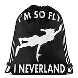 Jiadourun - Mochila de viaje unisex con cordón I'M So Fly I Neverland