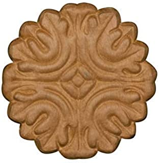 Embossed Wood Decorative Ornate Rosette Ornament in Knotty Pine- 3 1/2
