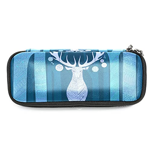 Estuche para lápices de ciervos navideños en el árbol, gran capacidad para rotuladores, bolsa organizadora de maquillaje, bolsa para escuela, oficina, adulto y niña