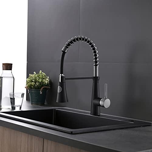 TIMACO Schwarz Wasserhahn Küche 360° Drehbar Küchenarmatur Mischbatterie Gastro Küche Armatur Spiralfederarmatur Hochdruck