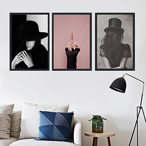 chthsx 3 Stücke Eine Frau Mit Einem Hut Verziert Wandkunst Bilder Modernen Stil Leinwand Malerei Für Wohnzimmer Wohnkultur Kein Rahmen 30X40 cm