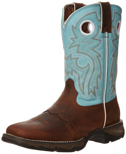 "Durango Women's Flirt With Durango 10"" Boot,Brown/Light Blue,6 M US"