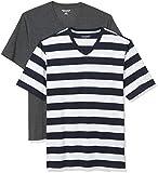 Amazon Essentials 2-Pack Loose-Fit V-Neck T-Shirt Fashion-t-Shirts, Navy Stripe/Charcoal Heather, M, Pack de 2