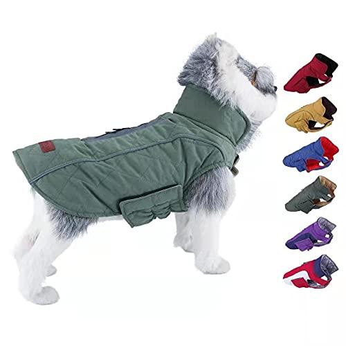 ThinkPet Warm Reversible Dog Coat – Thick Padded Comfortable Winter Dog Jacket, Reflective Safey Dog Vest M Green