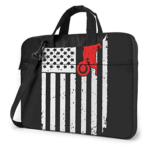 USA Flag Dirtbike Motocross Laptop Sleeve Case Computer Tote Bag Shoulder Messenger Briefcase for Business Travel