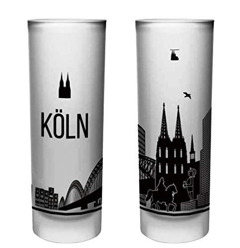 Köln Schnapsgläser | 6er Set | Gläser mit Gravur von der Kölner Skyline | Pinnchen bzw. Shotgläser für z.B Obstler, Tequila und Wodka. | Glas 6,5cl | Spülmaschinenfest | MADE IN GERMANY