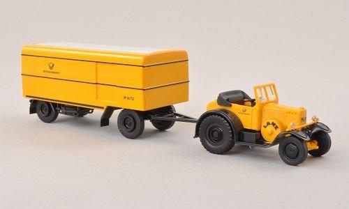 Lanz Eil-Bulldog, Deutsche Bundespost, mit Paketanhänger , Modellauto, Fertigmodell, Brekina 1:87
