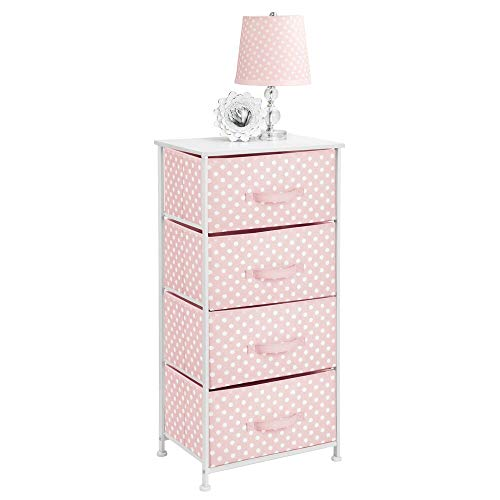 mDesign Cómoda de tela con 4 cajones – Práctico mueble auxiliar de almacenaje para las habitaciones infantiles, los dormitorios, etc. – Preciosa cajonera con cajones de tela – rosa/blanco