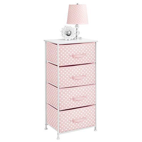 mDesign Piccolo comò a 4 cassetti – Cassettiera in tessuto per cameretta – Mobiletto con cassetti in stoffa per ingresso, camera da letto, ecc. – rosa/bianco