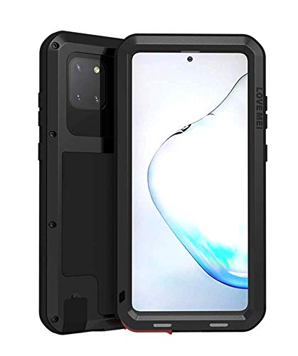 LOVE MEI Metal Case for Samsung Galaxy Note 10 Lite 2020, Heavy Duty Military Bumper Robust Dustproof Shockproof Anti-Drop Aluminum Metal Full Body Protection case Cover with Tempered Glass (Black)