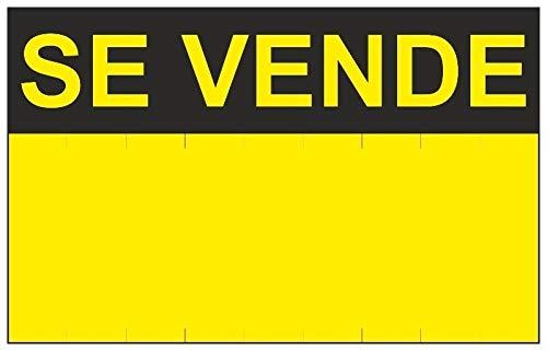 MovilCom® - Señal SE VENDE PVC 0,4mm AMARILLA 450X700mm Cartel inmobiliario (ref.RD51400)