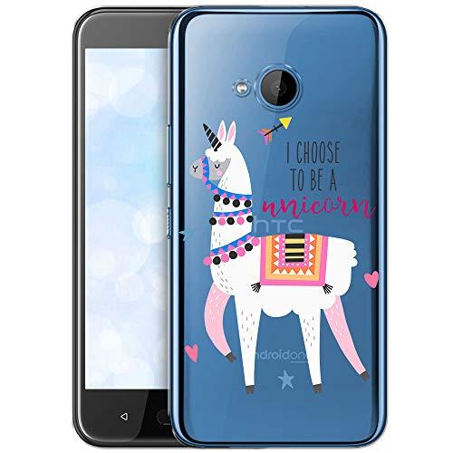OOH!COLOR Schutzhülle Kompatibel mit HTC U11 Life Hülle Silikon Hülle Handy Tasche transparent Bumper mit Coolen Aufdruck Motiv Lama Einhorn (EINWEG)