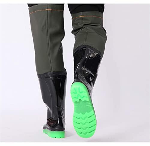 TTOOY Botas de vadeo Impermeables para Hombres, Damas, Pesca, Botas de Goma Wattaboses de PVC Ligeras y Transpirables, vadeadores súper Altos de 60 cm, tamaño de Zapato 36-45